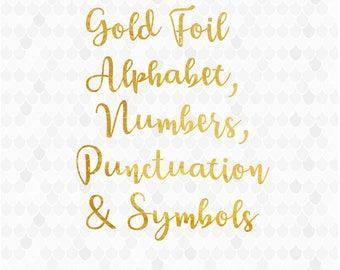 Gold Foil Alphabet, Alphabet Clipart, Gold Numbers Clipart, Foil Letters, Clip-art Font, Symbols, Foil Numbers, Gold Foil Clipart