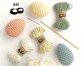 Egg Crochet Kit / DIY Kit / Eco-friendly Easter Craft Kit / Simple Crochet Pattern Amigurumi / Easter Eggs / Crochet Gift for Crocheter