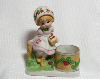 Strawberry Patches - Candle Holder -Vintage