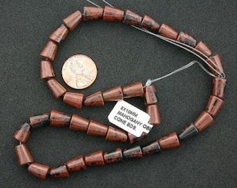10x8 gem mahogany cone 10x8 obsidian beads