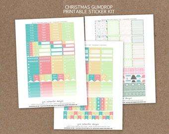 Printable Christmas Gumdrop Theme Weekly/Monthly planner sticker kit, 197 stickers! - ECLP, MAMBI Happy Planner, Filofax, Kikki K