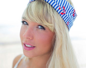 Nautical Wire Headband, Dolly Bow, Royal Blue and White Stripy Headband, Headband, 1950s Pin Up Rockabilly Hair Wrap, Twist Hair Scarf