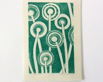 linocut - IN THE NIGHT // 5x7 art print // printmaking // block print // green // forest // flowers, seedlings, seed pods // small print