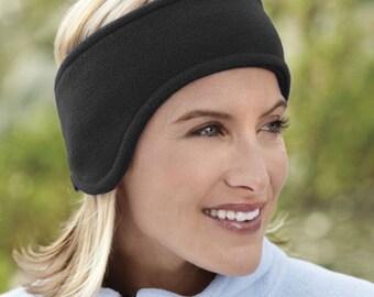 Black polar fleece ear warmer with velcro fastener, ear warmer, headband