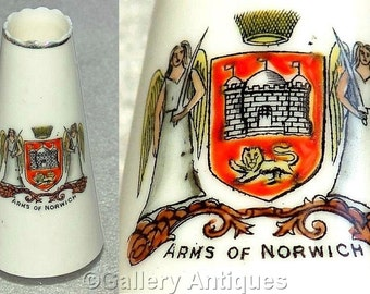 Antique S Hancock and Sons the Corona Ware China Co - Crested China Arms of Norwich tapered Vase c1910's (ref: 4004)