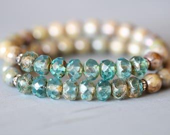 Earthy Aqua Czech Glass Bracelet, 8mm, Beaded Bracelet, Stretch Bracelet
