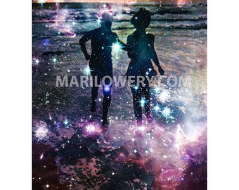 Surreal Collage Art Print, Romantic Decor, 8.5 x 11 inch print, Celestial Silhouette of Couple, Space and Stars, Astronomy Art, frighten