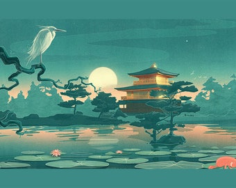 TABLEP elastic, aesthetics, WASHABLE and durable SET - Japanese painting - dawn of the heron - classic.