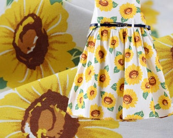 Sunflower fabric by 1/2 meter linen fabric with big floral print linen cotton blend fabric soft cotton fabric for summer Quilt/ Craft/ Decor