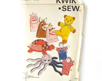 1970s Pattern for Stuffed Animals and Puppets / Octopus / Teddy Bear / Turtle / Plush Toys / Kerstin Martensson / Kwik Sew 613