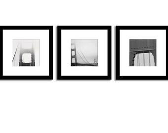 Golden Gate Bridge Photography Collection - 12x12 Prints - set of 3 photographs - Iconic San Francisco Golden Gate Bridge Black and White