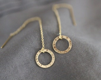 Ear Threaders, Gold Ear Threaders, Chain Through Ear, Delicate Earrings, Dainty Earrings, Small Gold Circle Earrings, Sterling Silver, E23