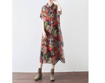 Womens Loose Fitting Lapel Collar Printed Floral Silk Blouses, Casual Blouses, Summer Blouses, Casual Tops, Travel Blouses, Tops For Women