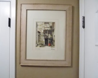 "M Roberts Signed & Numbered - Photography Photo - Framed and Matted - Villa - Village - ""At The End of the Alley"" - Wood Frame"