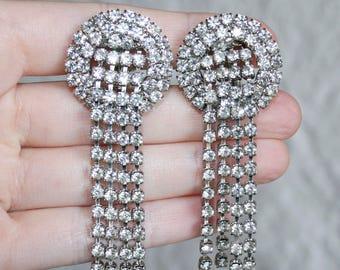 Clear Rhinestone Cascading Earrings - Clip On