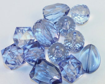 Assorted Shape Light Blue Large Acrylic Faceted Beads, Wholesale Beads