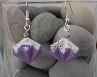 Purple and white diamonds origami earrings