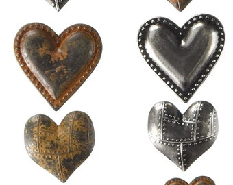 Prima Finnabair MECHANICALS - TIN HEARTS 10 Pcs Steampunk Embellishment #963361