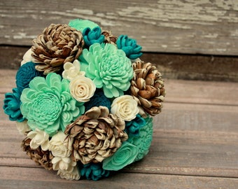 Teal sola flower bouquet, ecoflowers, Mint and teal wedding flowers, wooden flower bouquet, rustic bridal bouquet, ecoflower bouquet