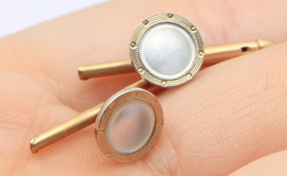 10K Gold...Mother Of Pearl, Antique Shirt or Collar Stud Set. Stamped F.P.S