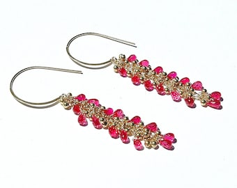 Magenta Quartz Dangle Earrings / 14K Gold / Boho Beautiful / Wire Wrapped / Teardrop Stone / Hot Pink / Black Dress / Gifts For Her / OOAK