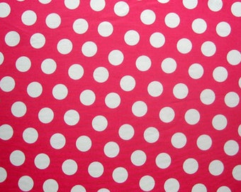 Pink Polka Dot Fabric, White on Bright Pink Large Polka Dot Cotton Fabric by Timeless Treasures for patchwork and crafts