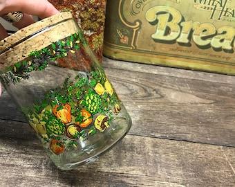 Vintage Glass Jar with Cork Lid Vegetables