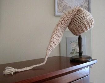 Crochet Newborn Hat, Crochet Infant Hat, Baby Stocking Hat, Baby Elf Hat, Hat for Baby, Baby Gift, Baby Boy Hat, Baby Girl Hat Long Tail Hat