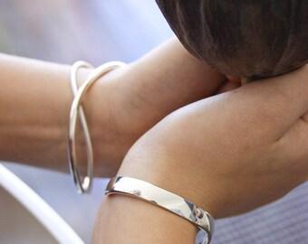 Sterling Silver Polished Curved Bracelet Cuff