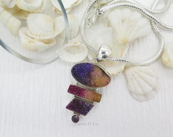 Purple and Yellow Drusy Amethyst Sterling Silver Pendant and Chain