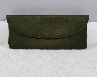 Vintage Jana Olive Green Faille Evening Bag Clutch  with Removable Mirror