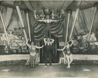 Circus performers strong man acrobats in costumes antique photo