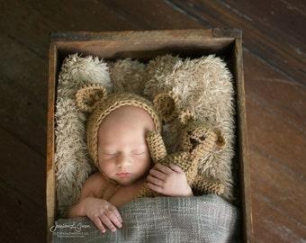 crochet newborn bonnet, newborn bonnet, girls bonnet, boys bonned, photo prop, Teddy bear, stuffed bear