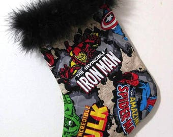 Marvel Comics Character Iron Man Hulk Thor Captain America Spiderman Christmas Holiday Quilted Stocking