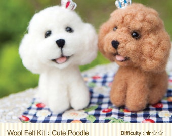 Needle Felting English / Chinese  Craft Kit  DIY Handmade Wool Felt Kit Toy Poodle - Can make 2 (English / For Beginner)