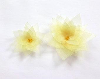 2 Yellow Organza Flowers Embellishment