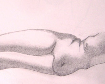 "Female Figure Drawing - Reclining Nude Female Figure - original graphite drawing, 5x12 ""Brittany"""