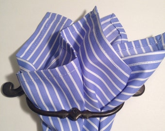 cotton pocket square Airforce blue stripe