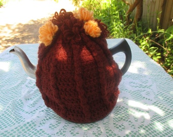 Vintage Tea Cozy - Brown, Tan with pom pom flowers on top - Vintage Style for your teapot.