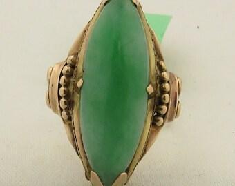 Vintage Retro  14 kt Natural Green Marquise Jadeite Cabochon Ring / 5.25.