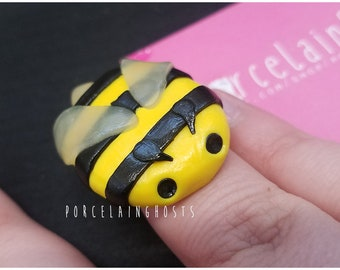 Bumblebee Polymer Clay Adjustable Ring Bumble Bee Honey Bee Save The Bees Nature Bee Ring Cute Kawaii Spring Bee Jewelry