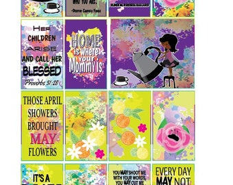 Classic May Mother's Day Full Box Printable Sticker Kit for Classic HP Layout (features Brown Girls)