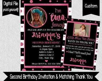 I'm Two Fancy Birthday Invitation and Matching Thank You - 2nd Birthday Invite and Thank You Card - Digital - Two Fancy - Two Much - Pink