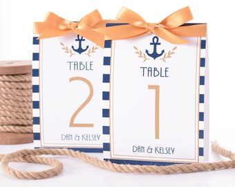 Nautical Wedding Table Number Tent Cards - Nautical Wedding Table Markers - Nautical Wedding Decor - Nautical Wedding Table Tents - #wtn-122