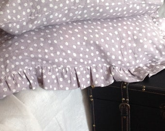 Set of two Stone washed warm gray/light lavender polka dots linen pillow cases: 1 with ruffles +1 without ruffles,