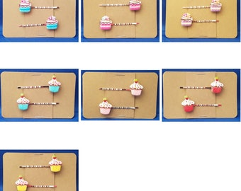 CUPCAKE Food - Handmade Bobby PIn Hair Clips - Set of 2 - You Choose Color