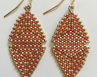 Beaded Lulu Earring in Poppy, Champagne, and Gold