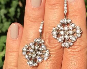 14K White Gold 1.56ctw Diamond Dangle Designer Earrings