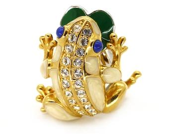 Gold Tone Enamel Frog Costume Ring