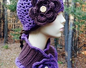 Purple and Brown Cloche Hat